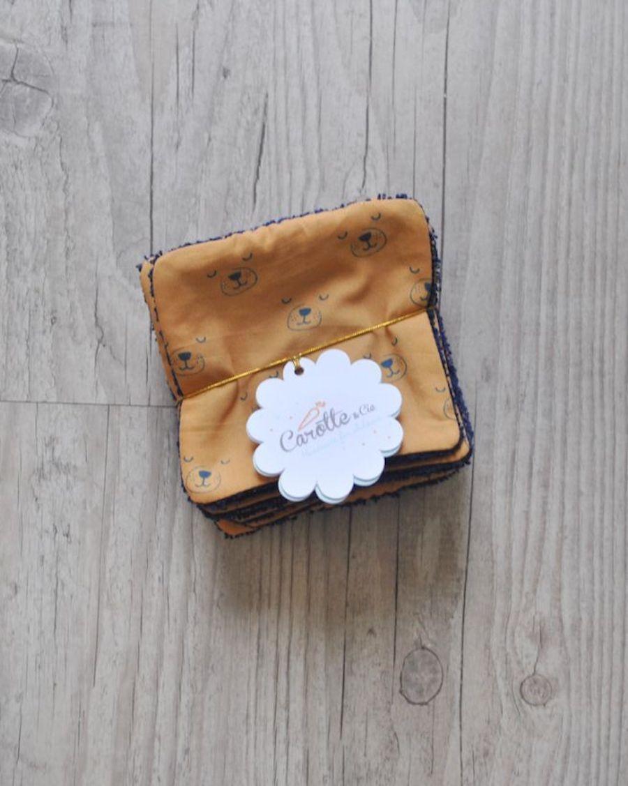 Lot de 10 lingettes lavables Chiens caramel  - Carotte Cie - MyloWonders