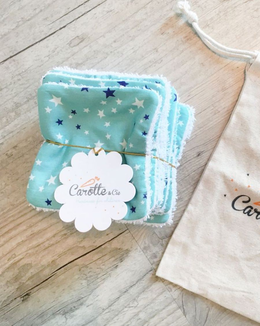 10 washable wipes - Stars - Carotte Cie - MyloWonders