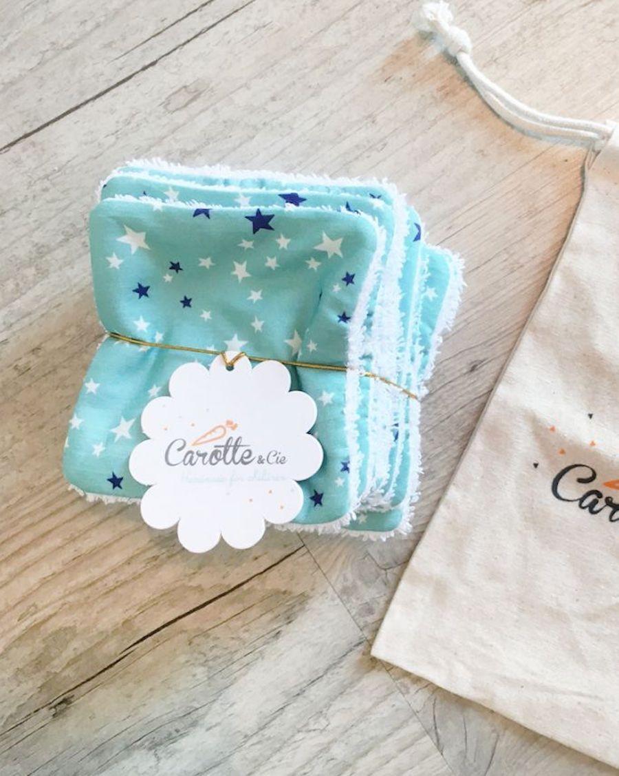 Lot de 10 lingettes lavables Etoiles - Carotte Cie - MyloWonders