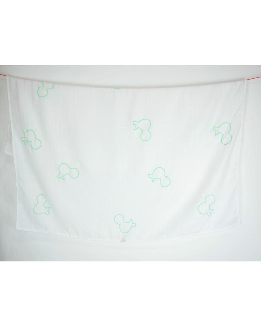 Lange blanc motif & vert