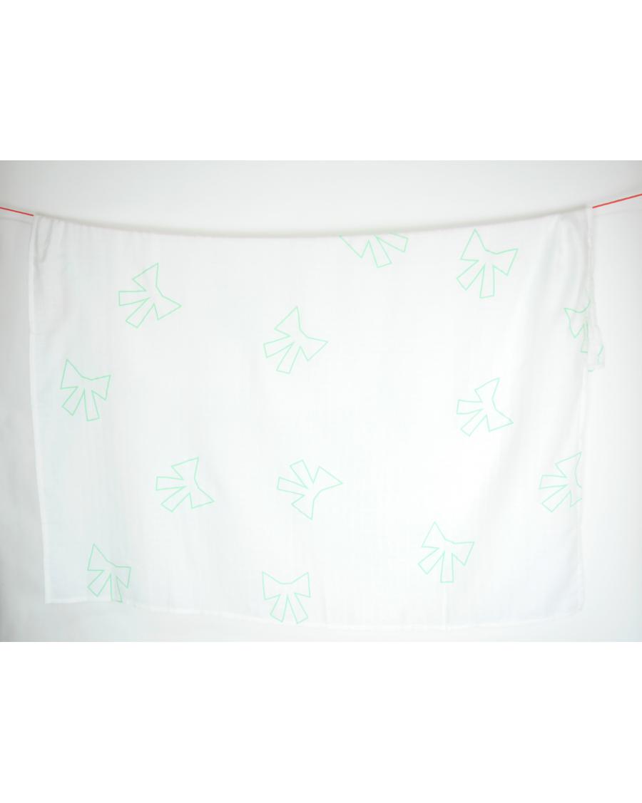 Lange blanc motif noeud vert