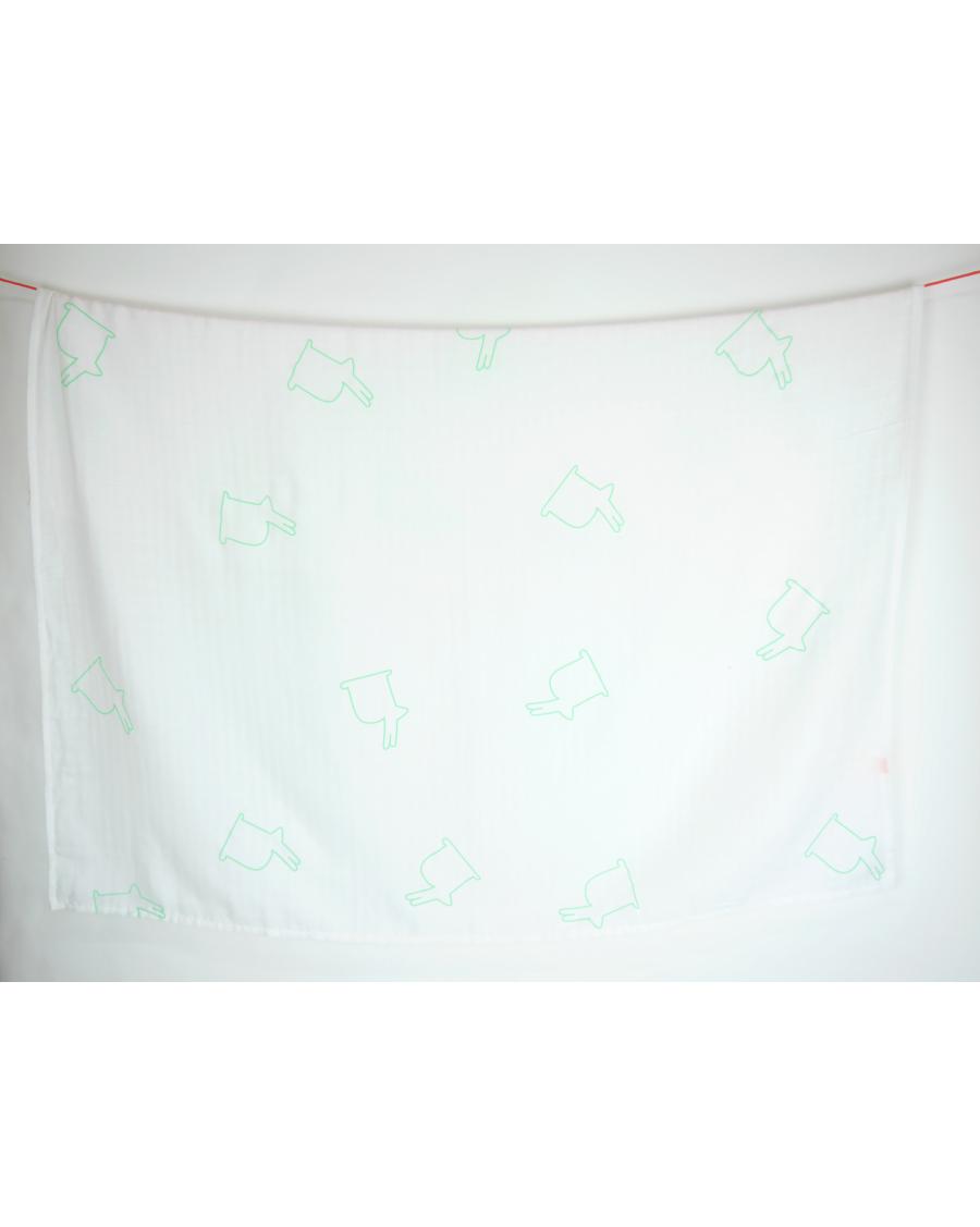 Lange blanc motif Lapins verts