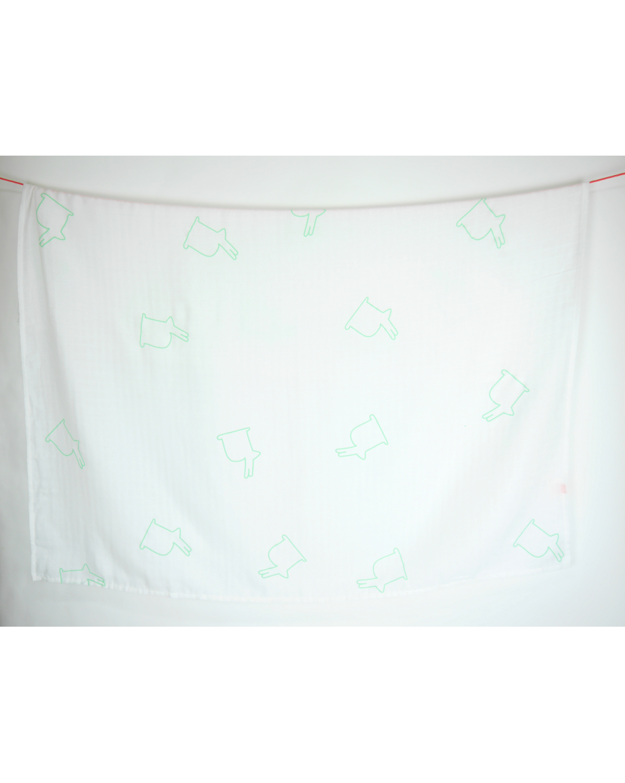 White swaddle with big mint bunnies