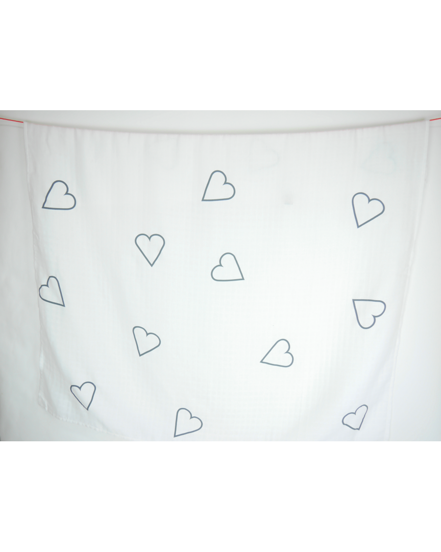 White swaddle with big grey hearts