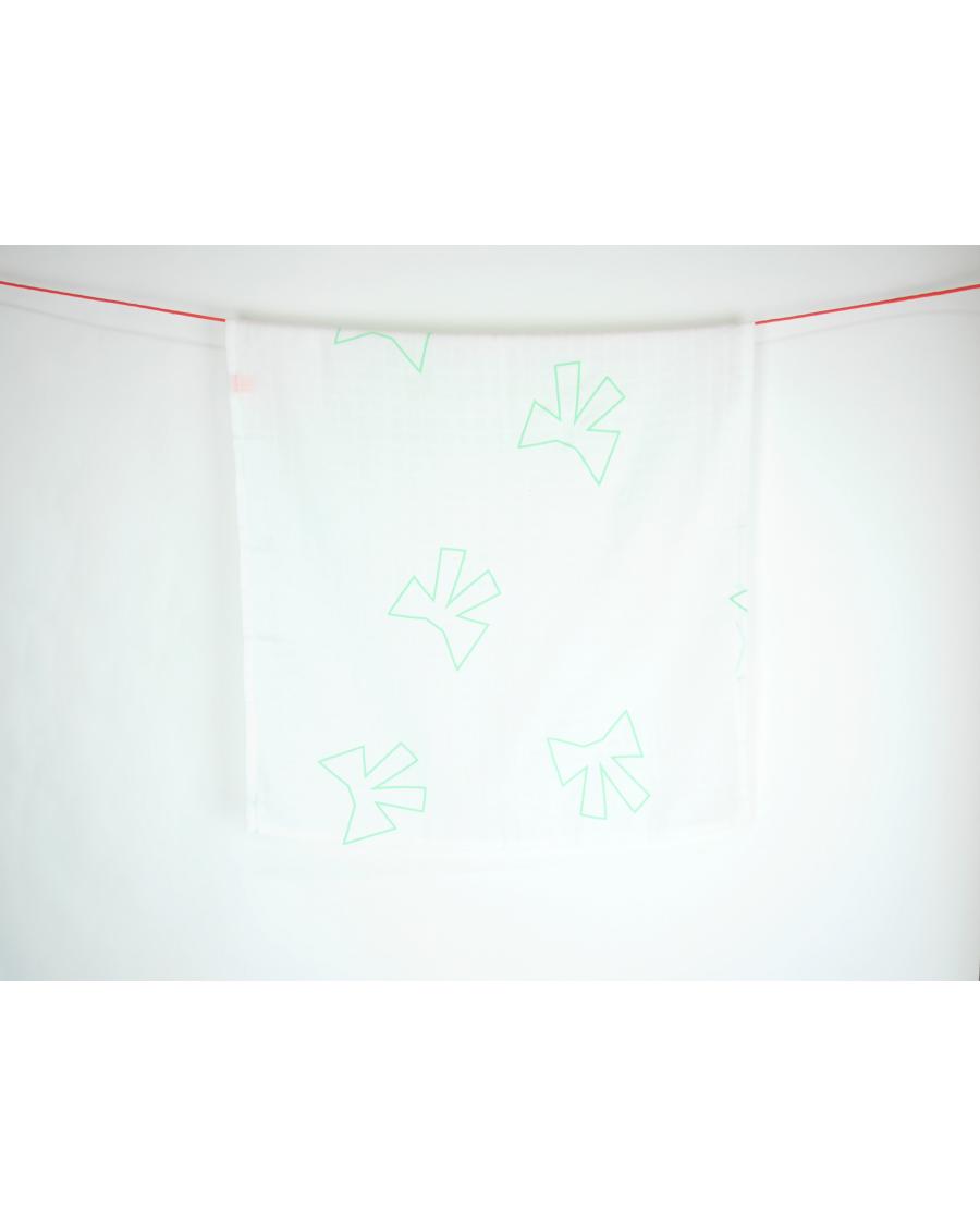 Lange blanc motif Noeuds verts